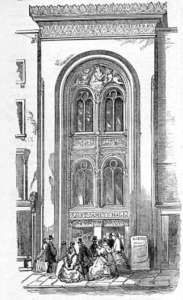 St James´s Hall, Piccadilly Entrance, am Tag der Eröffnung (25. März 1858)